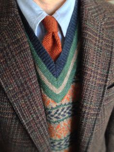 Redwood & Ross Harris Tweed, Brooks Brothers OCBD and sweater vest, Rooster 'Heathernit' mohair/wool knit tie.