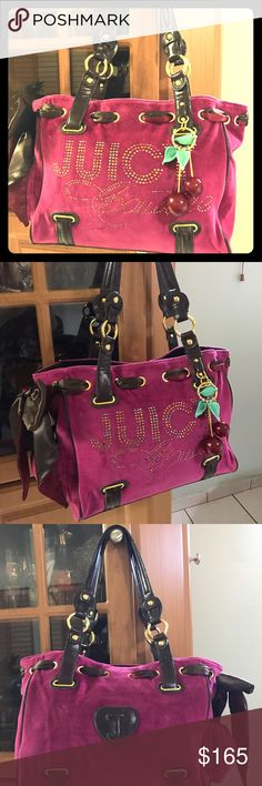 Juicy couture big handbag Burgundy and pink colors of velour with touches of brown leather and gold metal there is sort of studding that spells juicy couture and has a brown lace on the left side with 🍒 accessory on the right side of the bag .the handbag is 💯 % real straight from the juicy couture store not scratches, holes or stains. Juicy Couture Bags