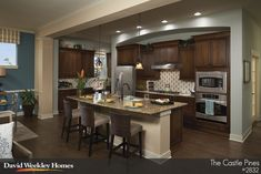 Kitchen ideas: cabinet color and placing- tile backsplash, and floor color- layout would work with floor plan