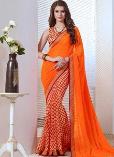 Orange Border Lace Work Georgette Designer Printed Half Sarees