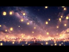 Anime Original Water City Milky Way Girl Long Hair Night Wallpaper Anime Scenery Wallpaper, Galaxy Wallpaper, Wallpaper Backgrounds, 1080p Wallpaper, Sky Anime, Anime Galaxy, Floating Lanterns, Sky Lanterns, Landscape Art