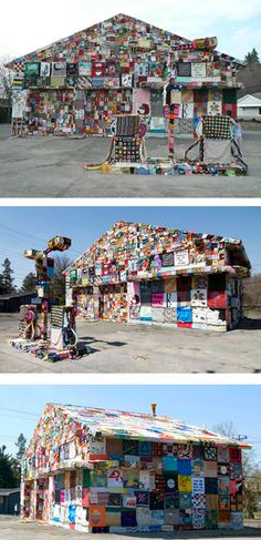 This incredible installation was made by crochet artist Jennifer Marsh. The artist revealed her crochet covered gas station on May 5th, 2007 as part of her World Reclamation Art Project. The abandoned gas station in Syracuse, NY, was covered in 3x3 foot squares from fiber artists all around the world in order to bring attention to the world's dependence on oil.