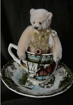 Glee, Miniature Mohair Artist Bear with English cup and saucer    http://aerlinnbears.bigcartel.com/products