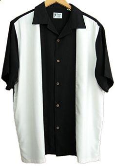 Mens Silk Retro Bowling Shirt Panel Casual XL, Black Go to the website to read more description.