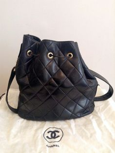 Chanel Bucket Bag Quilted Lambskin Vintage Authentic