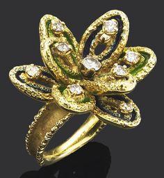 An enamel and diamond ring, by Boucheron, 1960s. Bonhams.