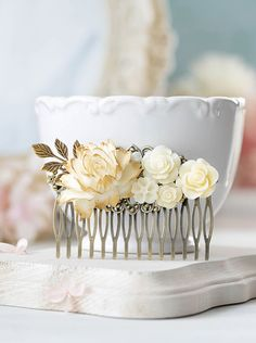 Vintage Style Bridal Hair Comb Cream White Ivory Flower Antique Gold Leaf Branch Hair Comb Rustic Vintage Wedding Country Chic Large Comb by LeChaim on Etsy https://www.etsy.com/listing/245764791/vintage-style-bridal-hair-comb-cream