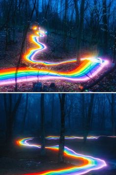 Rainbow Roads Illuminate Forests and River Bends Into Magical Landscapes. Vibrant Rainbow Roads Illuminate Forests and River Bends Into Magical Landscapes., Vibrant Rainbow Roads Illuminate Forests and River Bends Into Magical Landscapes. Best Landscape Photography, Light Painting Photography, Rainbow Photography, Forest Photography, Photography Series, Landscape Photography Tips, Exposure Photography, Colourful Photography, Magical Photography