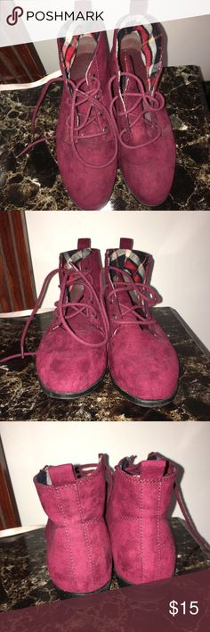 Women's Red Faux Suede Low-top Booties |FOREVER21 •has a few scruffs• •make reasonable offers • Forever 21 Shoes Ankle Boots & Booties