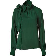 RACHEL ZOE Bottle Green Stretch Silk Blouse