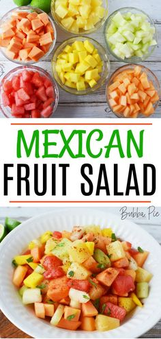 Mexican Fruit Salad - BubbaPie Mexican Fruit Salad - This easy, healthy, summer recipe is perfect for a party or a backyard BBQ. Filled with chunks of fresh fruit and a little chili seasoning, this salad will be a hit with the crowd. Healthy Summer Recipes, Summer Salad Recipes, Fruit Salad Recipes, Snack Recipes, Fresh Fruit Salad, Healthy Fruits, Healthy Snacks, Healthy Eating, Salads For A Crowd