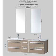 Meuble de salle de bain suspendu 110 cm avec un plan vasque en Solid ...