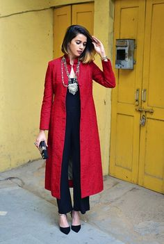 for this Tailer fit designer wear Kurta Designs, Kurti Designs Party Wear, Blouse Designs, Indian Attire, Indian Wear, Indian Dresses, Indian Outfits, Indian Jackets, Party Kleidung