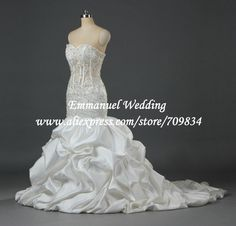 Actual Real Sample Lace Up Pleat Satin Sexy Crystal Swarovski Mermaid Lace See  Through Wedding Dress Long Train U1057  229.76 791516473a2e