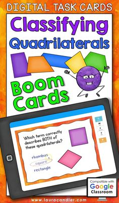 Classifying Quadrilaterals digital self-checking Boom Cards are a fun way for students to practice identifying and classifying quadrilaterals based on the properties of their sides and angles.  #BoomCards #DigitalTaskCards #DistanceLearning #mathboomcards #geometryboomcards #classifyingquadrilaterals Engage In Learning, Learning Tools, Math Vocabulary, Maths, Teaching Jobs, Teaching Resources, Classifying Triangles, Active Engagement, Student Performance