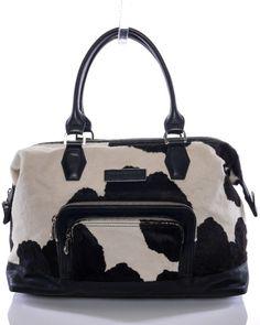 Longchamp Limited Edition NEW Black & White Cow Hair Leather Satchel  #GidgetLovesFashion #Longchamp #Cow #BlackandWhite
