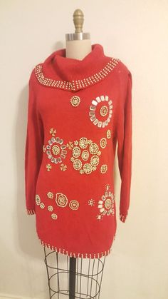 Sweater long can wear with tights Size on tag S fits oversize small and fits Medium. Vintage Sweaters, Long Sweaters, Old School Fashion, Victoria Harbour, High Neck Dress, Tunic Tops, How To Wear, Ebay, Dresses