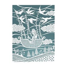 Original Papercut Illustration  Flying with the by SarahTrumbauer, $20.00