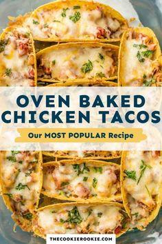 Best Chicken Taco Recipe, Spicy Baked Chicken, Chicken Recipes, Easy Chicken Tacos, Taco Chicken, Cheese Recipes, Nachos, Mexican Food Recipes, Dinner Recipes