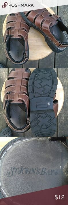 St John's Bay Men's Sandals Slightly used pair of Men's leather sandals. Great condition. See pics for wear. Great item! Smoke free home. St. John's Bay Shoes Sandals & Flip-Flops