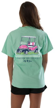 Par for the course! Our preppy pink golf cart shirt is a super cute addition to any wardrobe.