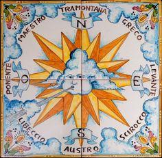 Ceramics - Rosa dei venti:Tile mural, floor panel, table top | Touch of Sicily