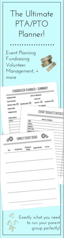 New and seasoned PTA volunteers and PTO leaders will appreciate having all of the essential planning pages at their fingertips in this fantastic PTA / PTO Planner and Organizing Kit!  Track Fundraiser Ideas, Family Fun Events, Officer Transitions, Volunteer Coordination and more!  This planner has everything you need for your parent group to succeed!