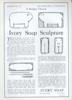 1926 Ivory Soap Sculpture 2 Ads How to carve into animals birds
