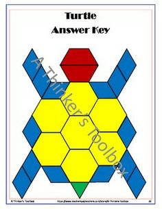 Pattern Blocks Animal Puzzles by A Thinker's Toolbox #math #geometry