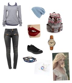 """Running From Nowhere"" by rainbowchanrawr on Polyvore featuring Soul Cal, Balmain, Converse, Charlotte Tilbury, Phase 3, FOSSIL, Aéropostale, women's clothing, women and female"