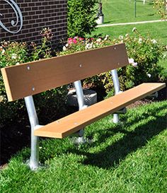 """6' Madison Recycled Plastic Bench – Inground Mount. 110 lbs. Dim: 72""""W x 28 1/2"""" D x 30"""" Ht. Made with two 2"""" x 10"""" recycled plastic slats and black powdercoated or galvanized legs. Includes a UV protectant. Maintenance free."""