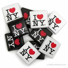 CitySouvenirs.com - I Love NY Chocolate Square, $0.60 (http://www.citysouvenirs.com/i-love-ny-chocolate-square/)