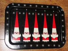 "Vintage Christmas 5 Santas Black Mid Century Metal Tray 17"" x 12.5"" Holt Howard"