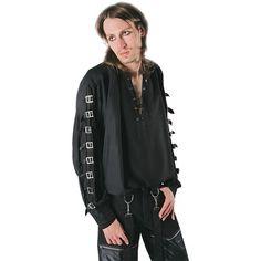 cooles Gothic Hemd, Mittelalter Hemd mit Schnallen