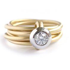 Contemporary, bespoke and modern yellow gold multi band engagement wedding ring, 0.25pt round white diamond, handmade by designer maker sue lane jewellery. #ContemporaryGoldJewellery