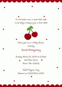 Cherry Baby Shower Invitation (Birthday)