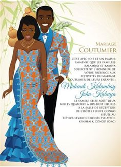 Faire part invites Mon Coeur Congo Traditional Wedding Invitation African Wedding Attire, African Attire, African Dress, African Wedding Theme, Ghana Traditional Wedding, Traditional Wedding Dresses, Wedding Trends, Wedding Styles, Wedding Ideas