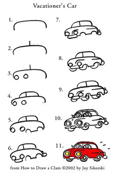 Car Drawing Lesson from How to Draw a Clam © 2002 by Joy Sikorski