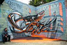 "Graffiti artist Odeith wanted to make his street art stand out, so he decided to create murals that are also anamorphic illusions. By skewing is images in just the right way and painting ""shadows"" on the walls and ground, Odeith is able to create designs that look like 3D objects hovering in space."