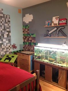 Kids Bedroom Minecraft bedroom created to look like the minecraft village created in the
