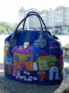 Handmade Felt, Handmade Bags, Felt Purse, Felt Embroidery, Art Bag, Felted Slippers, Craft Bags, Fabric Bags, Quilted Bag