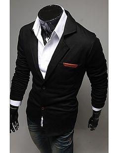 Men's Solid Casual / Work Blazer Long Sleeve Black / Blue / Gray 1109405 2016 –…