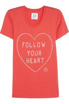 Zoe Karssen|Follow Your Heart cotton and modal-blend T-shirt|NET-A-PORTER.COM