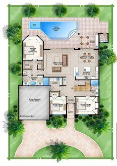 Florida House Plans, Garage Floor Plans, Beach House Plans, Cottage House Plans, Craftsman House Plans, Dream House Plans, House Floor Plans, House Plans With Pool, European House Plans