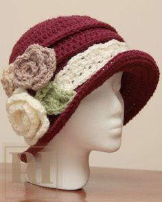 Elegant Ruched Cloche w/Roses Crochet Pattern