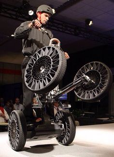 """Segway Concept - New Michelin """"Tweel"""" tires are displayed on the Segway Concept Centaur at the North American International Auto Show in Detroit. Tweel technology replaces the need for air pressure"""