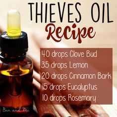Thieves Oil Recipe -- natural help for cold and flu season