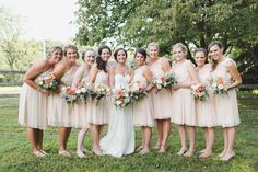 On-trend collections of blush, gray and neutral with a pop of coral for a delicate presentation at Angela and Andrew's Audubon wedding: Pill Photography.