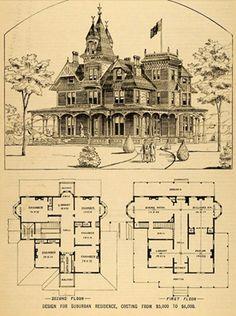 Victorian house plan, circa 1879. Built for $6,000   Courtesy Nacho Kitty