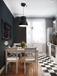 Черно-белая кухня площадью 8 кв. метров: 10 дизайнерских ремарок